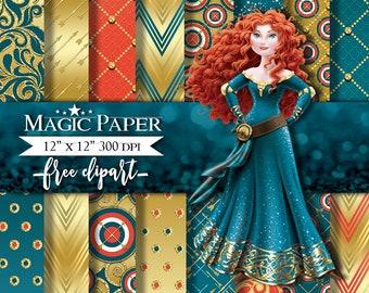 Princess Merida, Brave Digital Paper Papers, Scrapbook, Scrapbooking, Pattern
