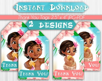 Baby Moana Thank You Or Favor Tags Instant Download Pdf Jpg