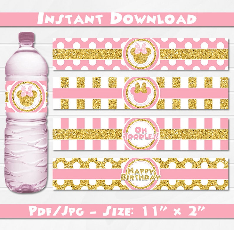 photo regarding Free Printable Minnie Mouse Water Bottle Labels named Minnie Mouse Crimson and Gold Drinking water Bottle Labels, Immediate Down load, pdf jpg