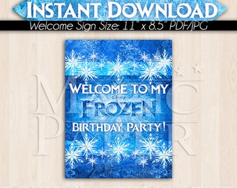 Frozen Welcome Sign, Princess Elsa Anna Olaf, pdf jpg, Instant Download