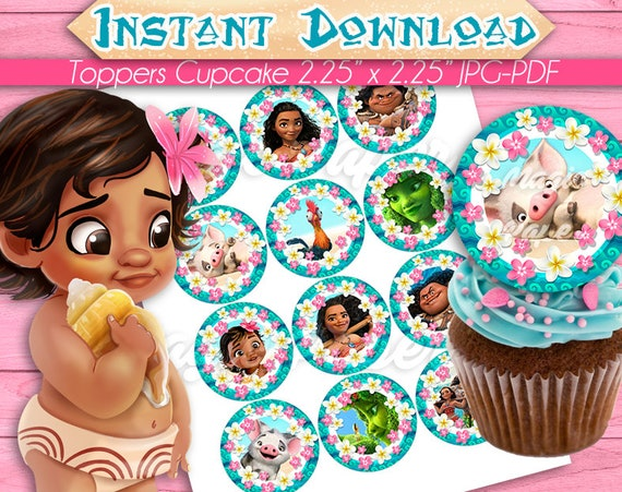 Baby Moana Cupcake Toppers Birthday Party