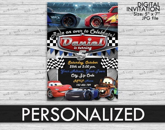 Cars Lightning McQueen Invitation PERSONALIZED JPG Jackson Storm Birthday Digital