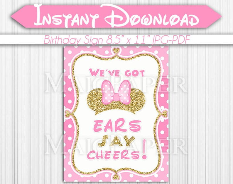 bathroom decoration vintage mickey minnie decor mouse.htm minnie mouse pink gold birthday party sign weve got ears say etsy  minnie mouse pink gold birthday party