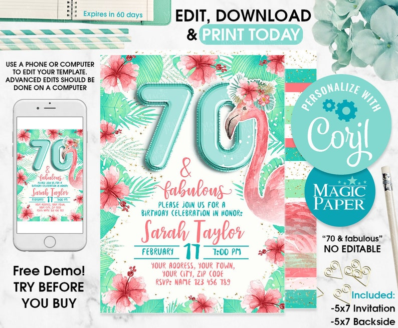 Flamingo Birthday Invitation, 70th Women Birthday Invitation, Pool Party,  Flamingo Editable Invitation, Editable Text Invitation on Corjl