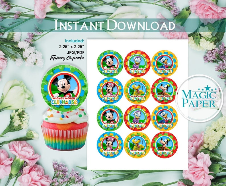 Phenomenal Mickey Mouse Cupcake Toppers Mickey Clubhouse Birthday Party Etsy Birthday Cards Printable Riciscafe Filternl