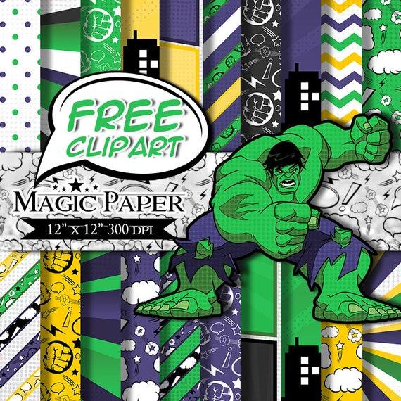 hulk digital paper scrapbook papers scrapbooking paper etsy
