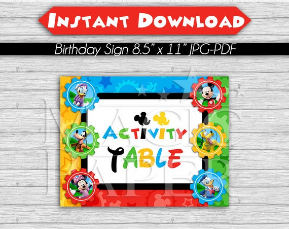 Mickey Mouse Clubhouse Birthday Party Sign Activity Table 8 5 X 11 Instant Download