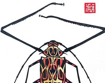 PRE ORDER Harlequin Beetle Boy - Block Print 6 x 8