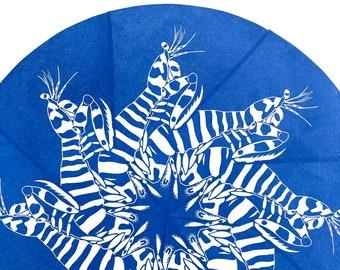 Zebra Mantis Shrimp Mandala Block Print