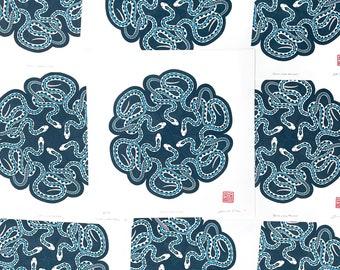 Garter Snake Mandala Block Print 12 x 12