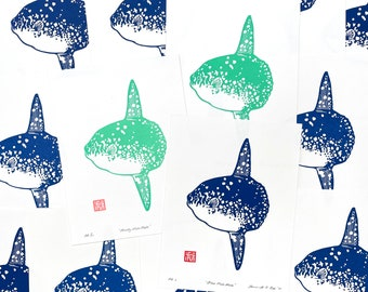 Mola Mola Sunfish in Blue or Mint- Block Print 6 x 8