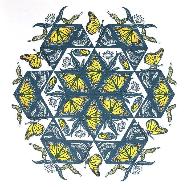 PRE-ORDER 20x20 Monarch Mandala Large Print on Kraft or White