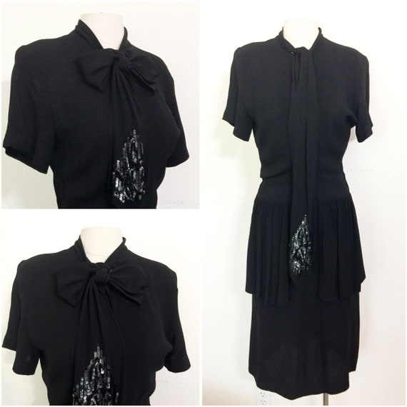 Original Vintage 1940s Black Crepe Peplum Dress, V
