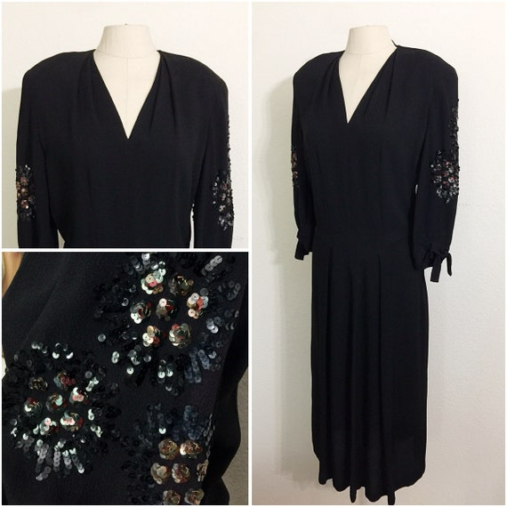 Original Vintage 1940s Black Crepe Sequined Cockta