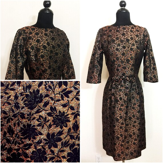 Original Vintage 1950's Floral Lurex Wiggle Dress,