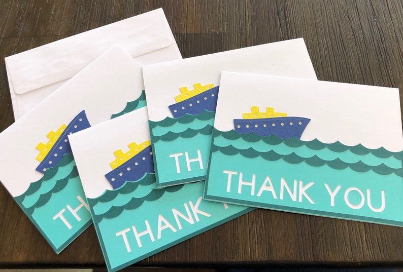 Cruise Ship Thank You Cards Handmade with envelopes 4 pack image 0
