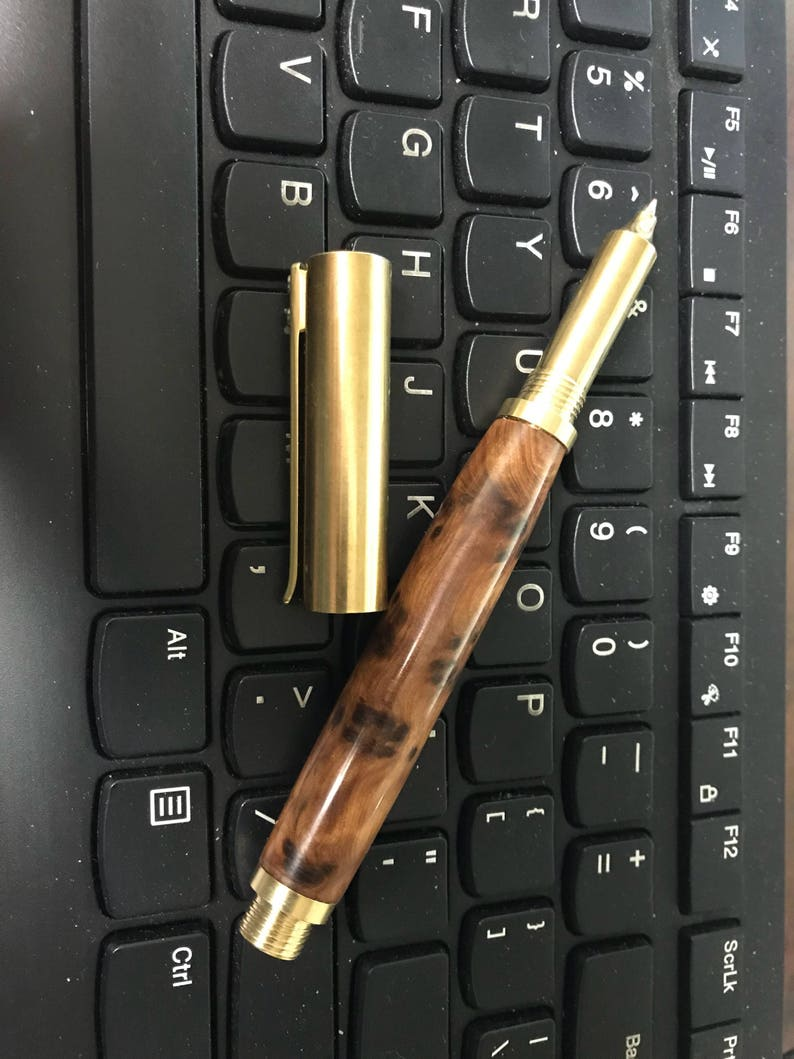 Brass Rollerball Pen Thuya Burl RAW Brass hardware hand turned image 0