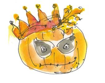 "PUMPKIN KING...Clipart / Digital Download / 300 dpi/ hi resolution of Original Watercolor . 8""x10"" Great for any application."