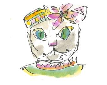 "MASQUERADE CAT...Clipart / Digital Download / 300 dpi/ hi resolution of Original Watercolor . 8""x10"" Great for any application."