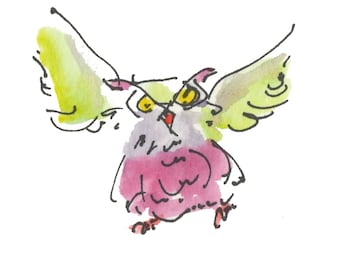"""FLYING OWL...Clipart / Digital Download / 300 dpi/ hi resolution of Original Watercolor . 8""""x10"""" Great for any application."""