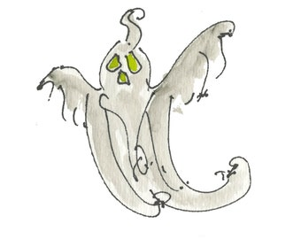 """FLYING GHOST....Clipart / Digital Download / 300 dpi/ hi resolution of Original Watercolor . 8""""x10"""" Great for any application."""