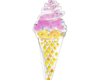 """ICE CREAM..Clipart / Digital Download / Hi Resolution of Original Watercolor . 8""""x10"""" Great for a multitude of applications."""