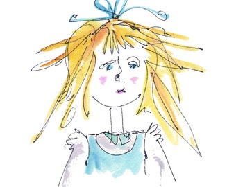 Alice In Wonderland ALICE Original Handmade Watercolor - Digital Printout for ClipArt
