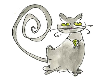 "MAGICAL CAT...Clipart / Digital Download / 300 dpi/ hi resolution of Original Watercolor . 8""x10"" Great for any application."