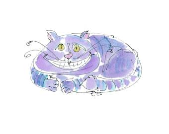 Alice In Wonderland- CHESHIRE CAT- Original Handmade Watercolor - 'Digital Printout' for ClipArt or Framing