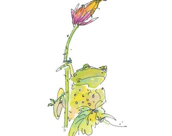 "FROG ON THISTLE..Clipart / Digital Download / Hi Resolution of Original Watercolor . 8""x10"" Great for a multitude of applications."