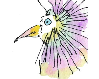 "KOOKOO BIRD..Clipart / Digital Download / Hi Resolution of Original Watercolor . 8""x10"" Great for a multitude of applications."