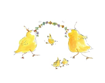 "CHICKS JUMP ROPE.Clipart / Digital Download / Hi Resolution of Original Watercolor . 8""x10"" Great for a multitude of applications."