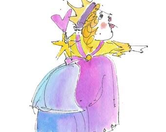 Alice In Wonderland QUEEN OF HEARTS Original Handmade watercolor - Digital Printout for ClipArt