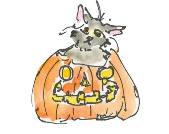 "CAT IN PUMPKIN...Clipart / Digital Download / 300 dpi/ hi resolution of Original Watercolor . 8""x10"" Great for any application."