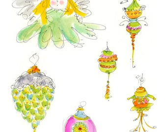 "CHRISTMAS CRAFTERS PAGE10...Clipart / Digital Download / 300 dpi/ hi resolution of Original Watercolor . 8""x10"" Great for any application."