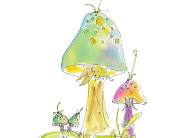 "TOADSTOOLS..Clipart / Digital Download / Hi Resolution of Original Watercolor . 8""x10"" Great for a multitude of applications."
