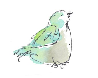 "GREEN BUDGIE..Clipart / Digital Download / Hi Resolution of Original Watercolor . 8""x10"" Great for a multitude of applications."