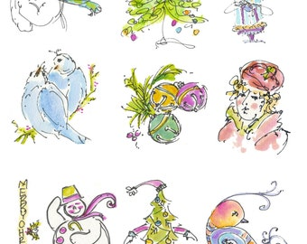 "CHRISTMAS CRAFTERS PAGE4... Clipart / Digital Download / 300 dpi/ hi resolution of Original Watercolor . 8""x10"" Great for any application."