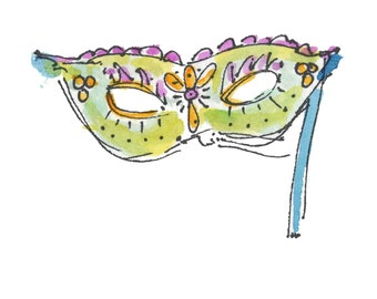 "MASQUERADE...Clipart / Digital Download / 300 dpi/ hi resolution of Original Watercolor . 8""x10"" Great for any application."