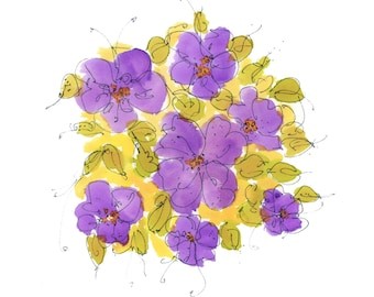 """VIOLETS..Clipart / Digital Download / Hi Resolution of Original Watercolor . 8""""x10"""" Great for a multitude of applications."""