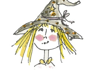 "WITCHY POO...Clipart / Digital Download / 300 dpi/ hi resolution of Original Watercolor . 8""x10"" Great for any application."