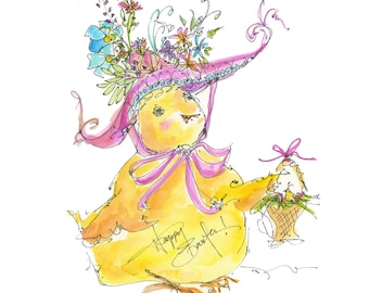 """EASTER BONNET (in your)..Clipart / Digital Download / Hi Resolution of Original Watercolor . 8""""x10"""" Great for a multitude of applications."""