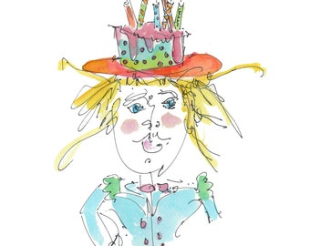 "BIRTHDAY GIRL..Clipart / Digital Download / Hi Resolution of Original Watercolor . 8""x10"" Great for a multitude of applications."
