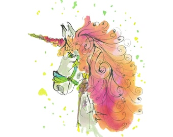 "UNICORN..Clipart / Digital Download / Hi Resolution of Original Watercolor . 8""x10"" Great for a multitude of applications."