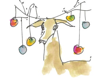 "DEER WITH ORNAMENTS...Clipart / Digital Download / 300 dpi/ hi resolution of Original Watercolor . 8""x10"" Great for any application."