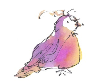 "VIOLET BIRD..Clipart / Digital Download / Hi Resolution of Original Watercolor . 8""x10"" Great for a multitude of applications."
