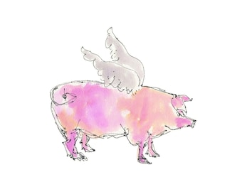 "WHEN PIGS FLY -1..Clipart / Digital Download / Hi Resolution of Original Watercolor painting. 8""x10"" Great for a multitude of applications."