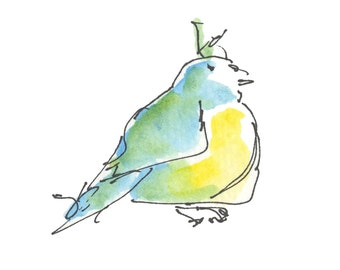 "BLUISH BIRD..Clipart / Digital Download / Hi Resolution of Original Watercolor . 8""x10"" Great for a multitude of applications."