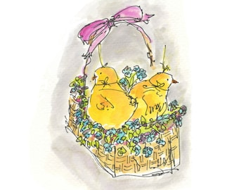 "EASTER BASKET..Clipart / Digital Download / Hi Resolution of Original Watercolor . 8""x10"" Great for a multitude of applications."
