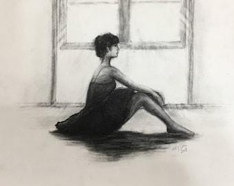 Charcoal Drawing Original Woman Girl Portrait Dancer Ballet Drawing